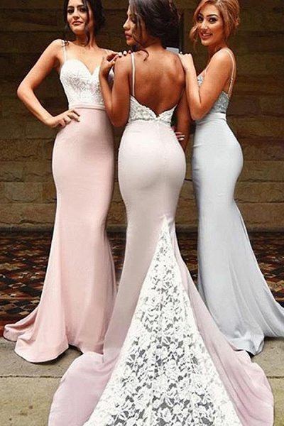 BA4780 Spaghetti Straps Mermaid Lace Satin Bridesmaid Dress