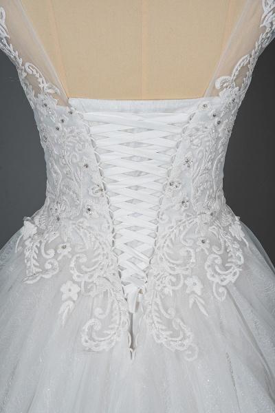 CPH245 Elegant Cap Sleeve Sheer Tulle Lace V-neck Ball Gown Wedding Dress_6