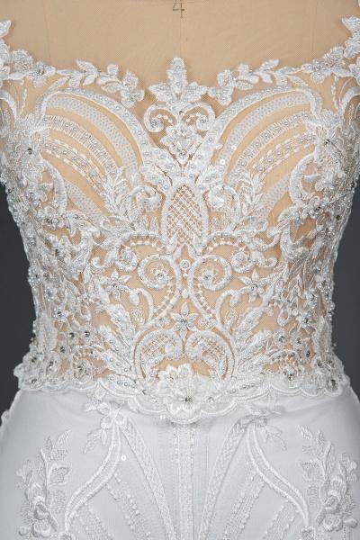 CPH248 Gergrous Lace Cap Sleeve Sheath Wedding Dress With Detachable Train_8