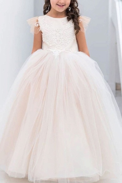 SD2160 Party Ball Gown Lace Appliques Flower Girls Dresses_5