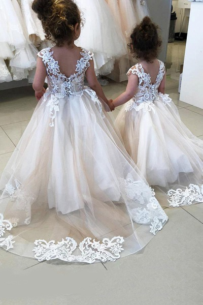 Party Sleeveless Tulle Flower Girls Dresses With Lace Appliques_4