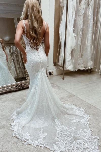 BC5904 Appliques Tulle Sleeveless Bateau Wedding Dresses Mermaid_2