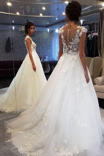 BC5900 Graceful White Lace Appiliques Wedding Dresses Long_1