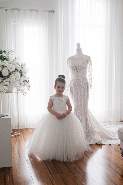 Cute Tulle Ivory Sleeveless Flower Girls Dresses Ball Gown_4