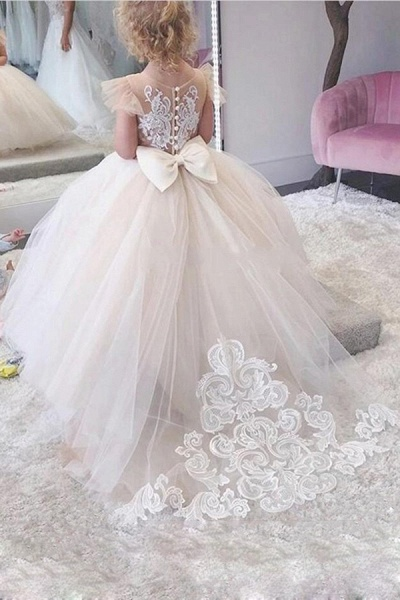 SD2160 Party Ball Gown Lace Appliques Flower Girls Dresses
