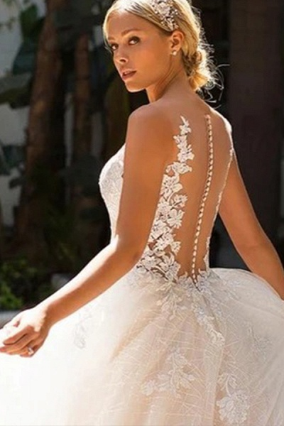 BC5902 Elegant Sleeveless Tulle Wedding Dresses With Appliques_3
