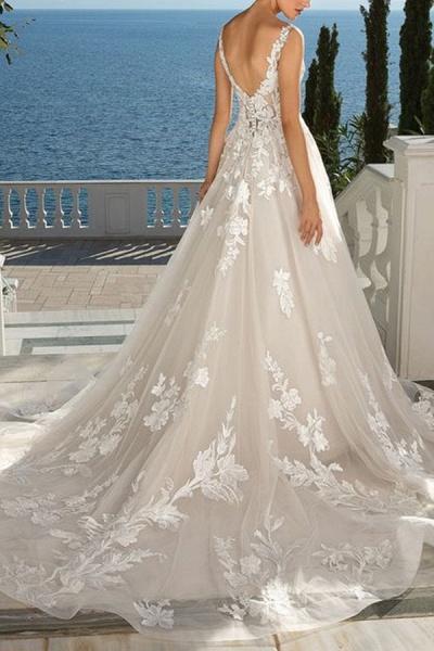 BC5897 Glamorous Sleeveless V Neck Wedding Dresses With Lace_2