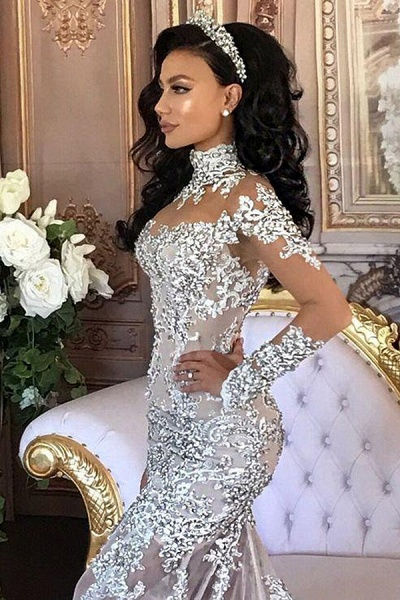 Glamorous Long Sleeves Tulle High Neck Appliques Wedding Dresses with Detachable Overskirt_5