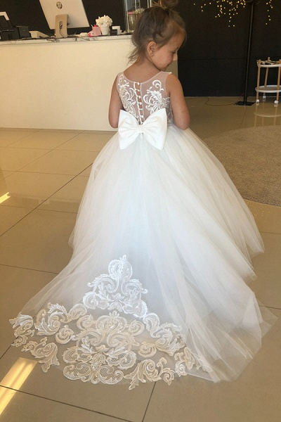Puffy Jewel Sleeveless Appliques Flower Girls Dresses With Bow_4