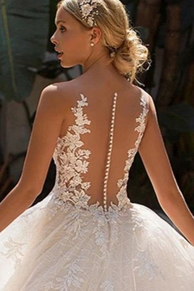 BC5902 Elegant Sleeveless Tulle Wedding Dresses With Appliques_5