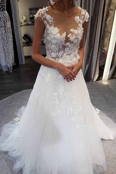 BC5900 Graceful White Lace Appiliques Wedding Dresses Long_2