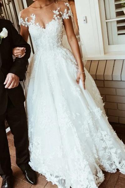 BC5905 Gorgeous Tulle Jewel Beading Appliques Wedding Dresses_1