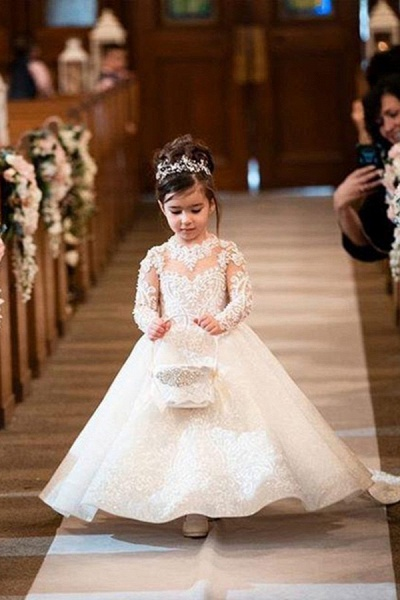 SD2156 White Flower Girls Dresses With Long Sleeves Appliques