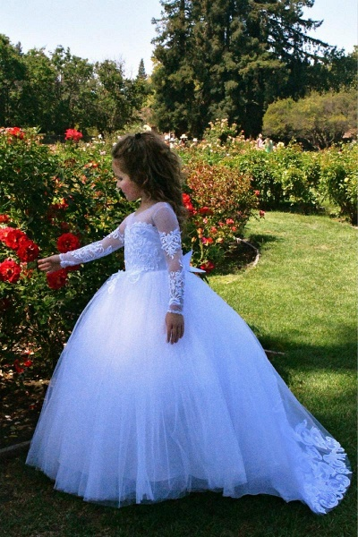SD2157 Beautiful Puffy Beaded Flower Girls Dresses With Long Sleeves_3