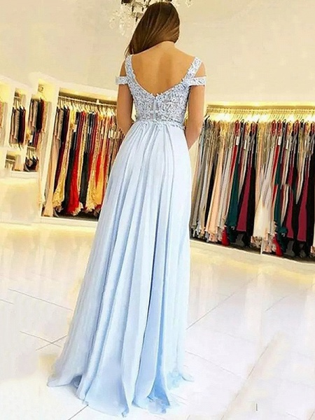 Chic Straps Chiffon A-line Evening Dress_3