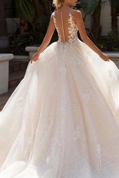 BC5902 Elegant Sleeveless Tulle Wedding Dresses With Appliques_2