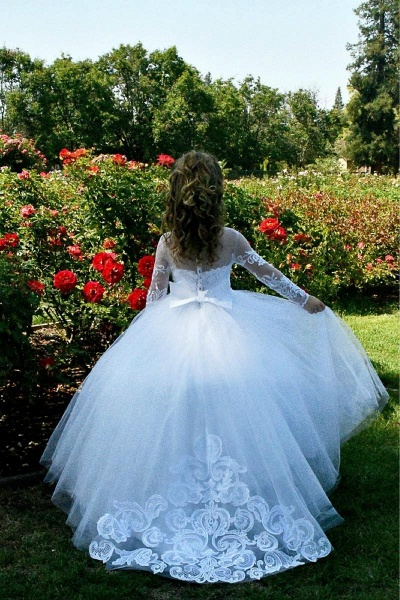 SD2157 Beautiful Puffy Beaded Flower Girls Dresses With Long Sleeves_2