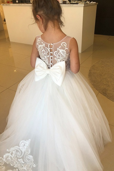 Puffy Jewel Sleeveless Appliques Flower Girls Dresses With Bow_5
