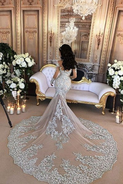 Glamorous Long Sleeves Tulle High Neck Appliques Wedding Dresses with Detachable Overskirt_3