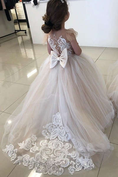 SD2160 Party Ball Gown Lace Appliques Flower Girls Dresses_2