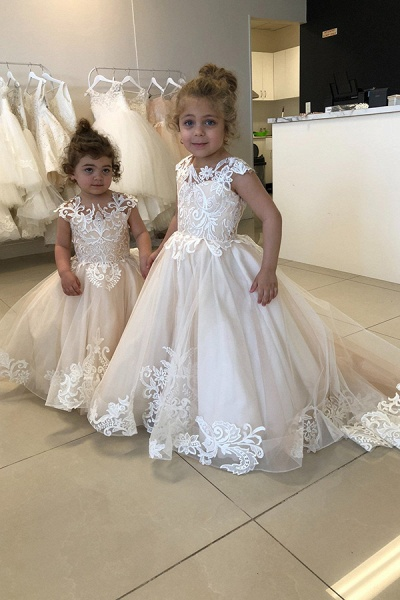 Party Sleeveless Tulle Flower Girls Dresses With Lace Appliques_2