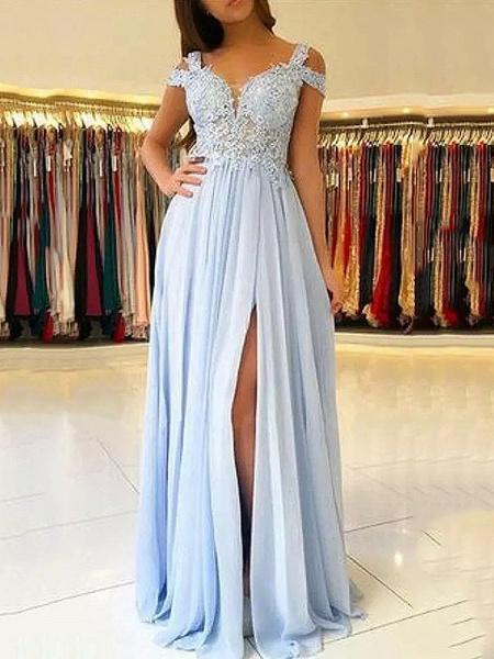 Chic Straps Chiffon A-line Evening Dress_2