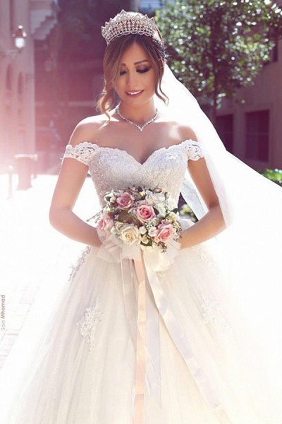 SDBA3477 Romantic White Sweetheart Wedding Dresses With Lace_3