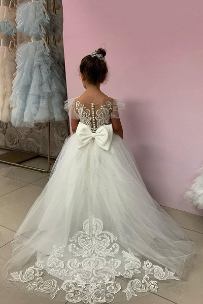 SD2160 Party Ball Gown Lace Appliques Flower Girls Dresses_4