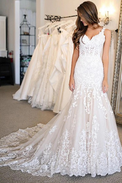 BC5906 Glamorous Sweetheart Mermaid Wedding Dresses With Appliques_1