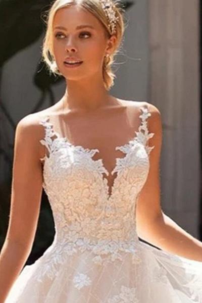 BC5902 Elegant Sleeveless Tulle Wedding Dresses With Appliques_4