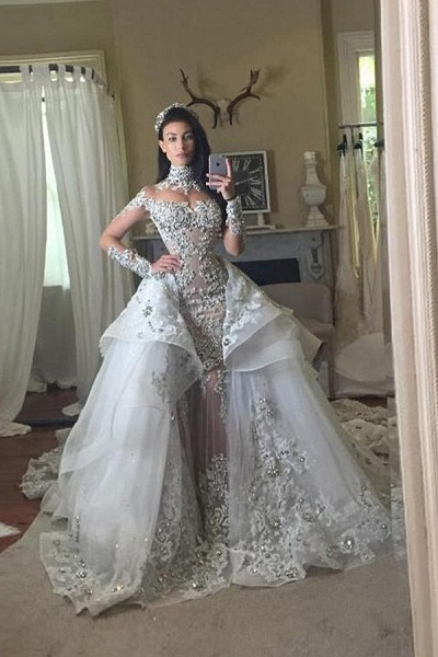 Glamorous Long Sleeves Tulle High Neck Appliques Wedding Dresses with Detachable Overskirt_6