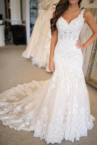 BC5906 Glamorous Sweetheart Mermaid Wedding Dresses With Appliques_2