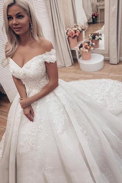 SDBC2511 Luxury Off Shoulder A-Line Lace Wedding Dresses_1