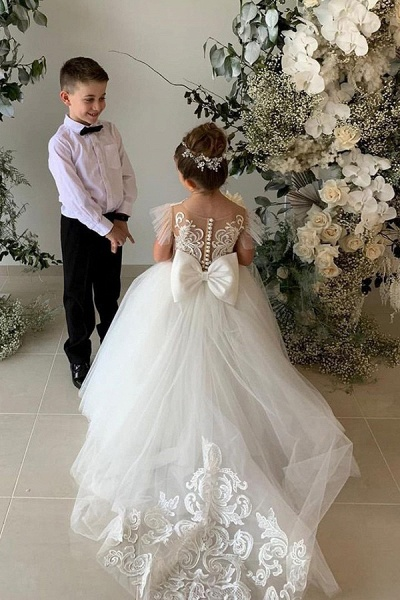 SD2160 Party Ball Gown Lace Appliques Flower Girls Dresses_3