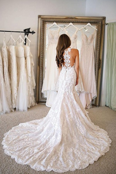 BC5906 Glamorous Sweetheart Mermaid Wedding Dresses With Appliques_3