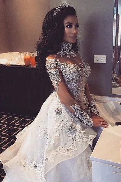 Glamorous Long Sleeves Tulle High Neck Appliques Wedding Dresses with Detachable Overskirt_4