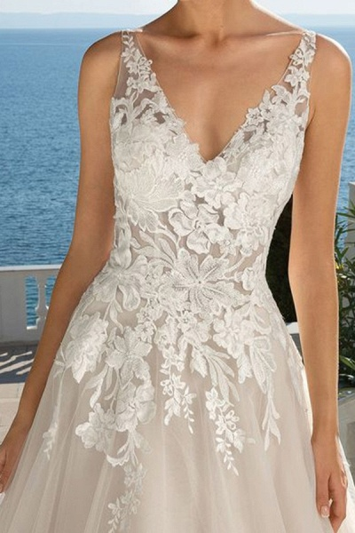 BC5897 Glamorous Sleeveless V Neck Wedding Dresses With Lace_3