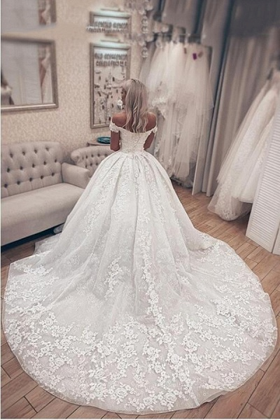SDBC2511 Luxury Off Shoulder A-Line Lace Wedding Dresses_2