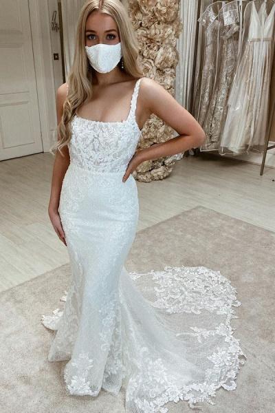 BC5904 Appliques Tulle Sleeveless Bateau Wedding Dresses Mermaid_1