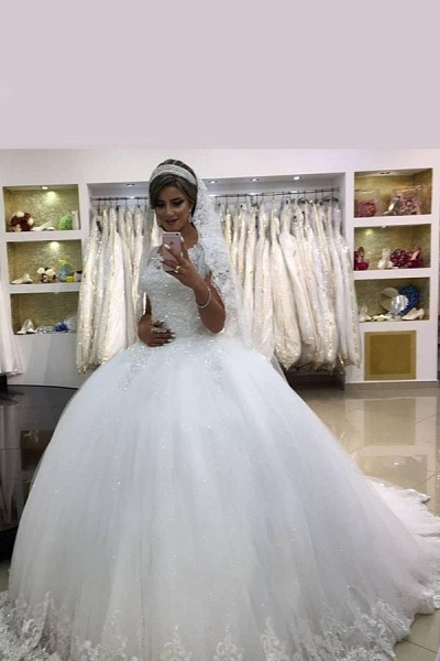 SDBC1452 Elegant White Sleeveless Ball Gown Wedding Gowns With Lace_2