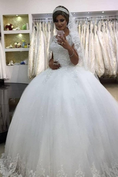 SDBC1452 Elegant White Sleeveless Ball Gown Wedding Gowns With Lace_1