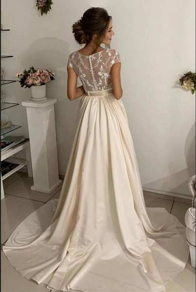 Simple Long A-line jewel Stretch Satin Lace Wedding Dresses_2
