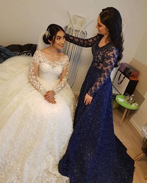 Elegant Princess Long Sleeves Lace Wedding Dresses_10