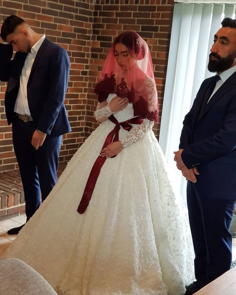 Elegant Princess Long Sleeves Lace Wedding Dresses_7