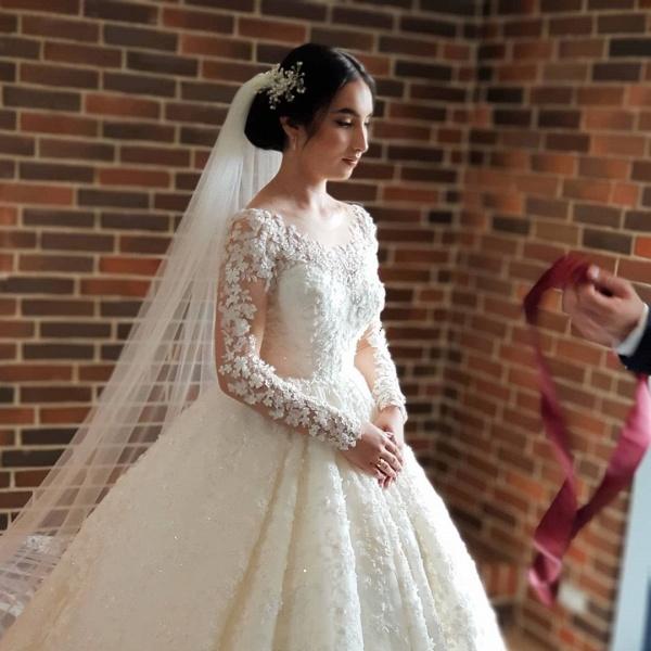 Elegant Princess Long Sleeves Lace Wedding Dresses_3