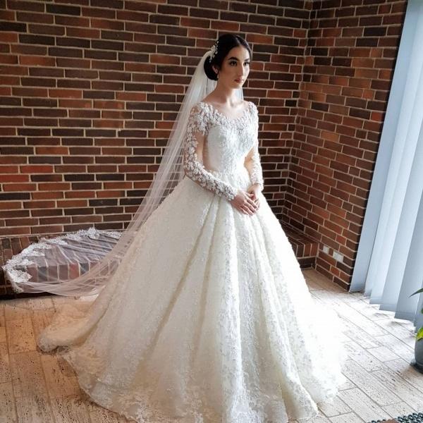 Elegant Princess Long Sleeves Lace Wedding Dresses_2