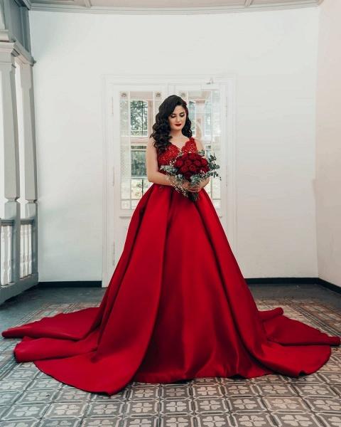 Luxury Long Princess Satin V-neck Wedding Dresses with Lace_2