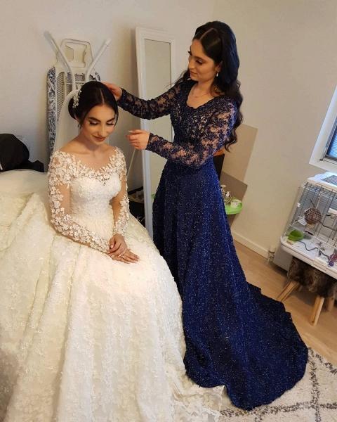 Elegant Princess Long Sleeves Lace Wedding Dresses_11