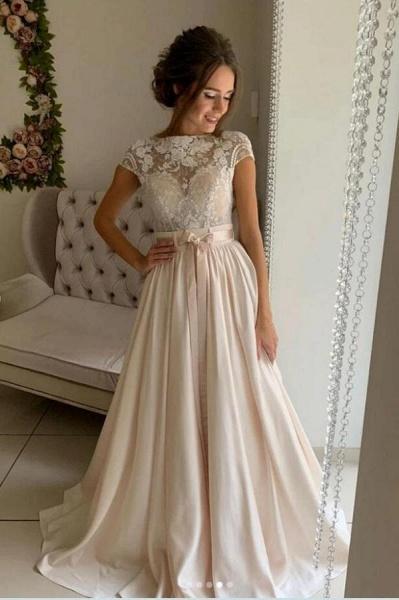 Simple Long A-line jewel Stretch Satin Lace Wedding Dresses