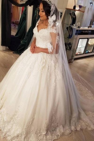 Beautiful Long Princess Off the Shoulder Lace Wedding Dresses